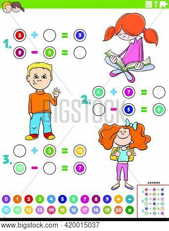 Cartoon Illustration Of Educational Mathematical Addition And Subtraction Puzzle Task With Children
