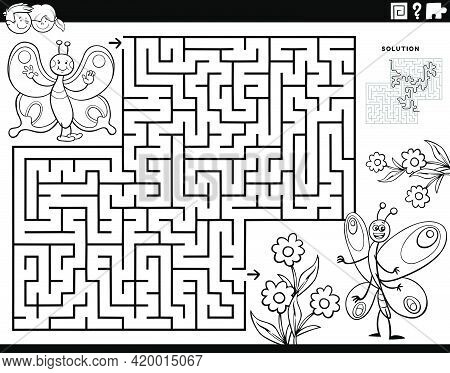 Black And White Cartoon Illustration Of Educational Maze Puzzle Game For Children With Butterflies I