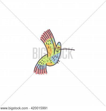 Cute Hummingbird. Cartoon Outline Colorful Character Illustration.