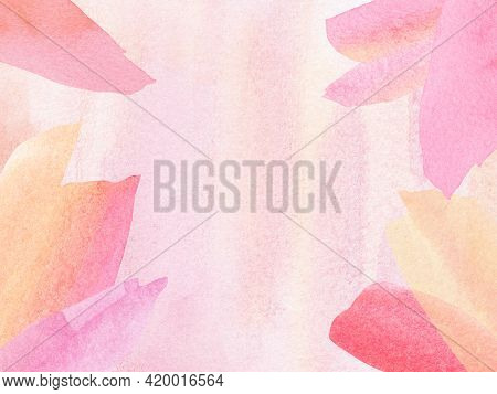 Watercolor Hand Painted Pink Rose Tone Colorful,splotches,wash In Blush Pink Background. Watercolor
