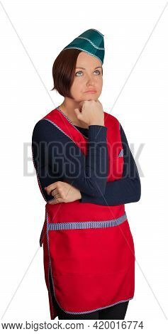 Pensive Saleswoman Leaned On Fist, On Isolated Background