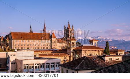 City Of Lausanne. Cityscape Image Of Downtown Lausanne, Switzerland In Sunset. Tranquil Scene.