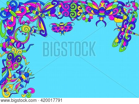 Decorative Background With Stylized Bugs And Insects. Mexican Ceramic Cute Naive Art.