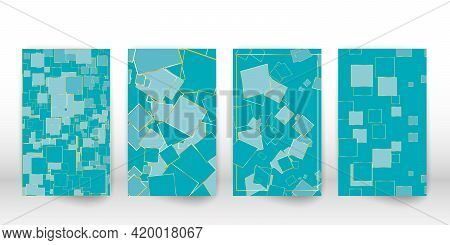 Geometric Modern Art. Colorful Poster With Geometric Shapes. Abstract Cover Flyer Set. Vector.
