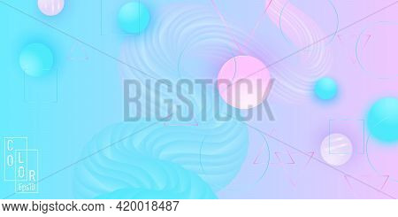 Color Background. Fluid Pattern. Pink And Blue Soft Spheres.
