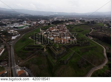 Aerial Panorama View Of Medieval Old Historic City Wall Castle Fortress Fortaleza De Valenca Do Minh