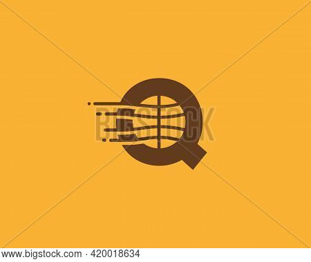 Abstract Letter Q Logo Design Template. Dynamic Vector Unusual Line Font. Creative Earth, Speed, Del