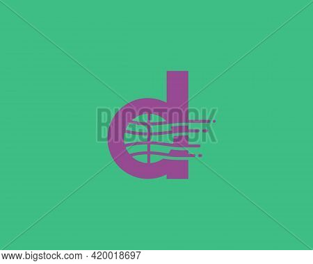 Abstract Letter D Logo Design Template. Dynamic Vector Unusual Line Font. Creative Earth, Speed, Del