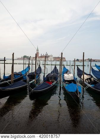 Panorama View Of Typical Traditional Gondola Tourist Boat Ship Ride In Grand Canal In Venice Venezia