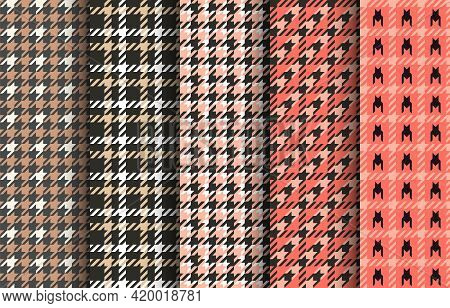 Set Of Houndstooth Seamless Patterns. Pink, Black And White Tartan Tweed. Glen Plaid Textures. Vecto