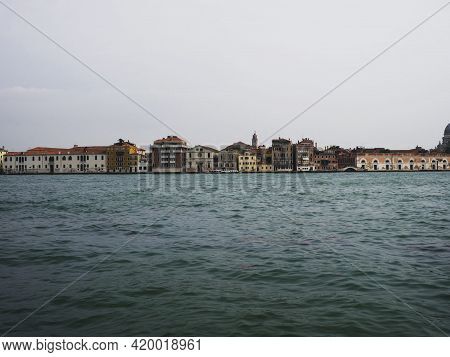 Panorama View Of Charming Picturesque Historic Colourful House Facades In Canals Of Venice Venezia V