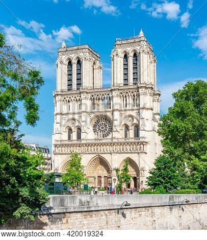 Notre-dame De Paris Cathedral In Summer, France