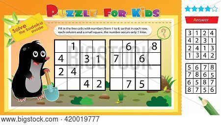 Solve The Sudoku Puzzle Together With The Little Mole. Logic Puzzle For Kids. Education Game For Chi