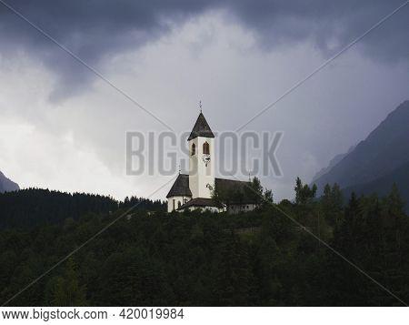 Hilltop Church Chiesa Di Santa Maddalena With Dolomites Mountain Panorama In Versciaco Di Sopra Vier