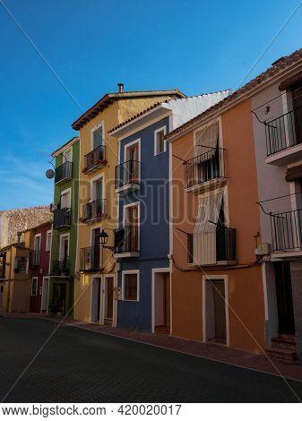 Colourful House Building Facades Architecture In Villajoyosa La Vila Joiosa At Costa Blanca Alicante