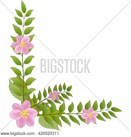 Corner Floral Frame. A Wreath Of Pink Flowers And Green Leaves. Flower Corner.