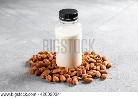 Almond Milk. Alternative Vegan Milk. Vegan Food Concept. Non Dairy Milk