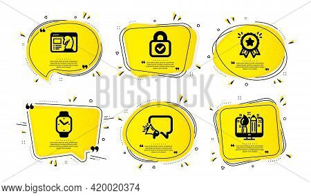 Smartwatch, Loyalty Award And Seo Strategy Icons Simple Set. Yellow Speech Bubbles With Dotwork Effe