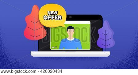 New Offer. Video Call Conference. Remote Work Banner. Special Price Sign. Advertising Discounts Symb