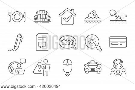 Energy, Skin Moisture And Credit Card Line Icons Set. Comments, Food And Taxi Signs. Stars, Scroll D