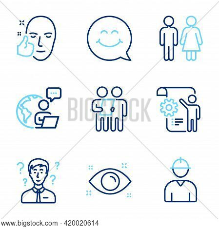 People Icons Set. Included Icon As Health Eye, Support Consultant, Restroom Signs. Survey, Healthy F