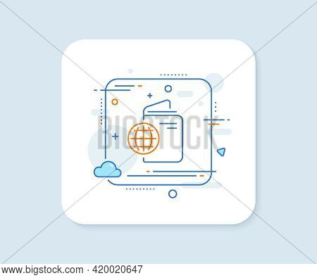 Travel Passport Line Icon. Abstract Square Vector Button. Trip Id Document Cover Sign. Abroad Holida