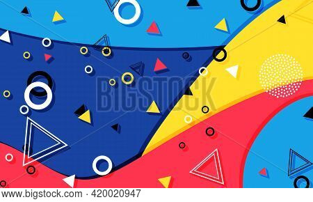 Memphis Pattern. Summer Fun Background. Red, Blue, Yellow Colors. Memphis Style Patterns. Vector Ill