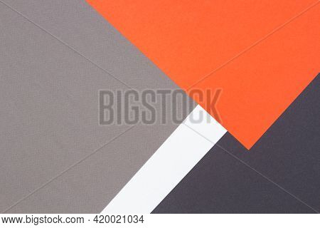 Creative Abstract Geometric Paper Background Orange, White, Light Gray, Black Colors Paper