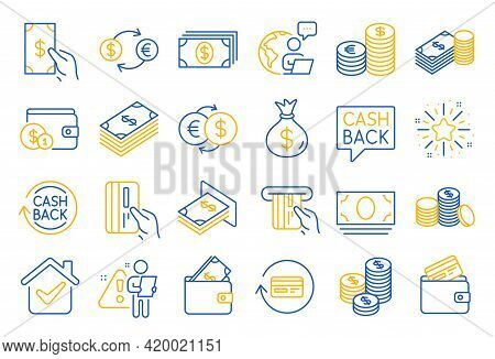 Money Line Icons. Set Of Banking, Wallet And Coins Icons. Credit Card, Currency Exchange And Cashbac