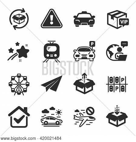 Set Of Transportation Icons, Such As Cancel Flight, Parking, Taxi Symbols. Get Box, Vip Parcel, Trai