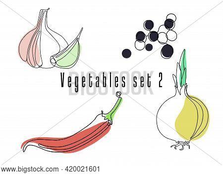 Vegetables Spices Set. Line Art, Linear. Garlic, Peppercorns, Chili Pepper, Onion White Background.