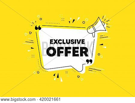 Exclusive Offer. Megaphone Yellow Vector Banner. Sale Price Sign. Advertising Discounts Symbol. Thou