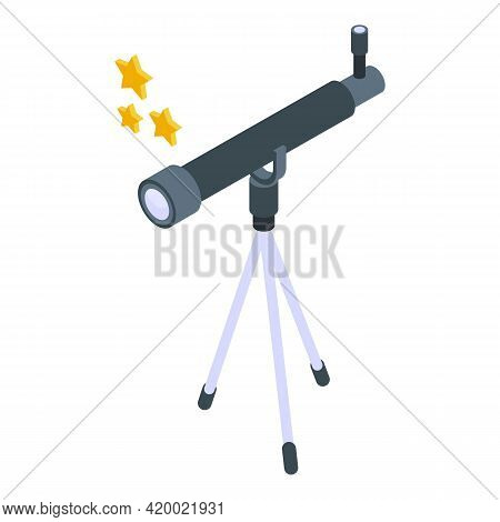 Research Telescope Icon. Isometric Of Research Telescope Vector Icon For Web Design Isolated On Whit
