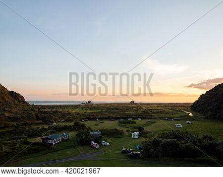 Landscape Nature Sunset Panorama At Idyllic Remote Whatipu Beach Waitakere Ranges West Auckland, Nor