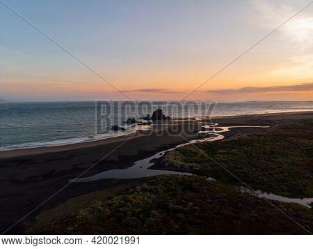 Aerial Nature Landscape Sunset Panorama At Idyllic Remote Whatipu Beach Waitakere Ranges West Auckla