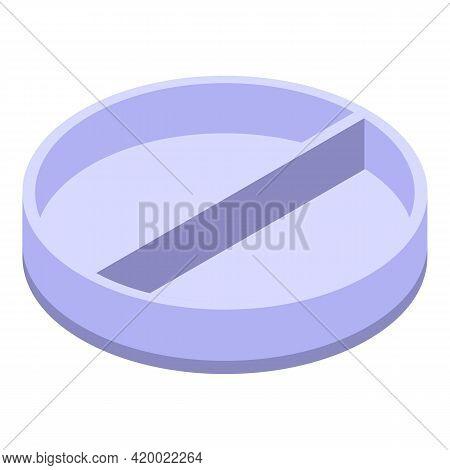 Half Petri Dish Icon. Isometric Of Half Petri Dish Vector Icon For Web Design Isolated On White Back