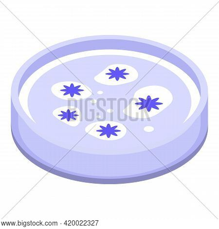 Bacteria Petri Dish Icon. Isometric Of Bacteria Petri Dish Vector Icon For Web Design Isolated On Wh