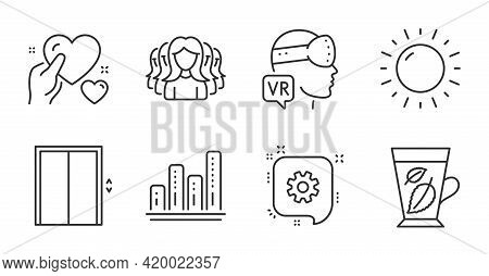 Mint Leaves, Augmented Reality And Women Group Line Icons Set. Lift, Graph Chart And Hold Heart Sign
