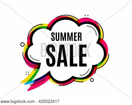 Summer Sale. Speech Bubble Vector Banner. Special Offer Price Sign. Advertising Discounts Symbol. Th