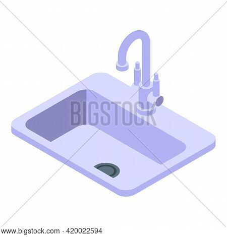 Kitchen Sink Icon. Isometric Of Kitchen Sink Vector Icon For Web Design Isolated On White Background