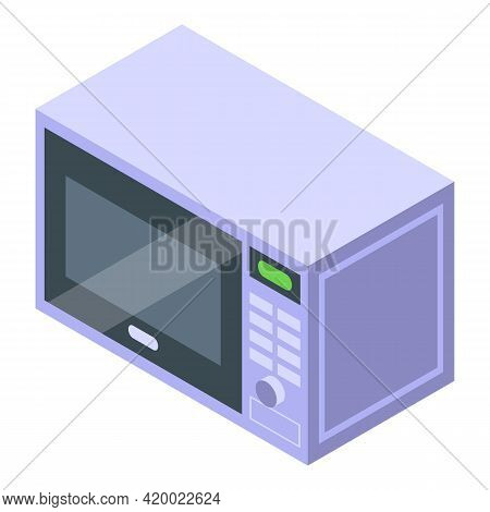 Kitchen Microwave Icon. Isometric Of Kitchen Microwave Vector Icon For Web Design Isolated On White