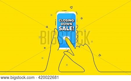 Closing Down Sale. Yellow Banner With Continuous Line. Hand Hold Phone. Special Offer Price Sign. Ad