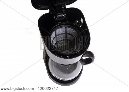 Black Coffee Maker Isolated On White Background Close Up