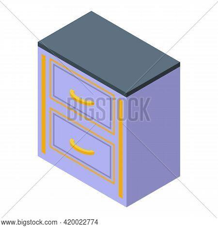Drawer Kitchen Furniture Icon. Isometric Of Drawer Kitchen Furniture Vector Icon For Web Design Isol
