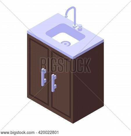 Kitchen Sink Furniture Icon. Isometric Of Kitchen Sink Furniture Vector Icon For Web Design Isolated