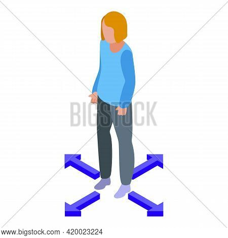 Woman Keep Distance Icon. Isometric Of Woman Keep Distance Vector Icon For Web Design Isolated On Wh