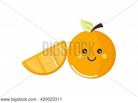 Orange Fruit Illustration In Bright And Sweet Yellow And Orange Color, With A Cute And Adorable Face
