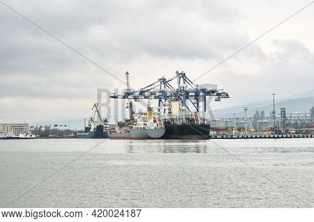The Mooring Front Of The Seaport With Moored Bulk Carriers. Ships Are Being Loaded And Unloaded. Cop