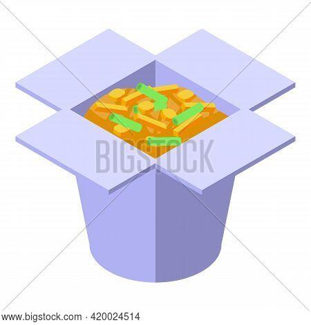 Wok Menu Carton Box Icon. Isometric Of Wok Menu Carton Box Vector Icon For Web Design Isolated On Wh
