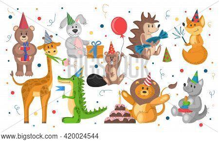 Set Of Wild Animals Celebrate Birthday. Cute Cartoon Animals In Flat Style. Vector Illustration Isol